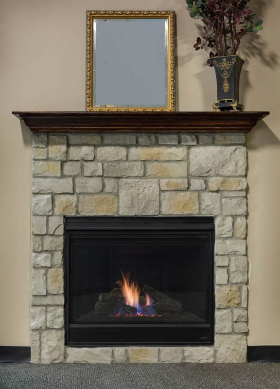 stone front fireplace home design