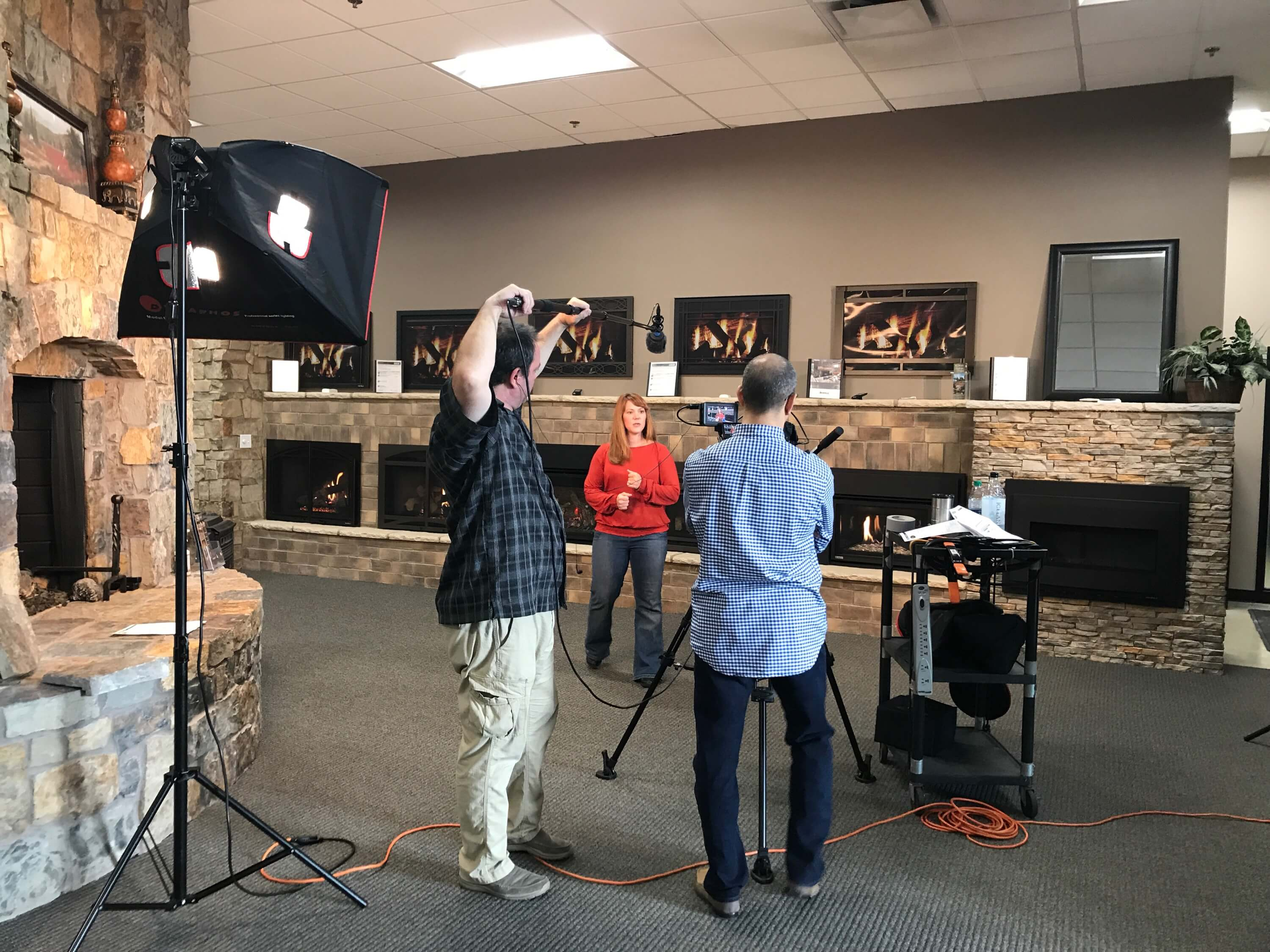 kansas city fireplace commercial filming
